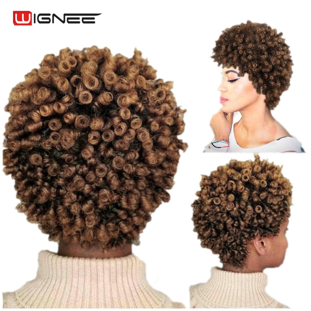 Wignee Short Hair Afro Kinky Curly Wig High Density Temperature - Syntetiskt hår