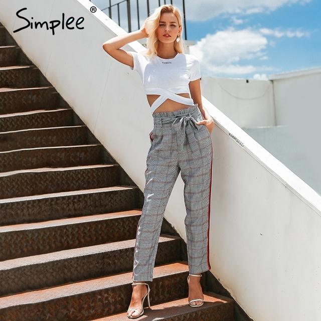 Plaid detachable bow sash casual pants Women Side Stripe lace up trousers Female harem Pants streetwear