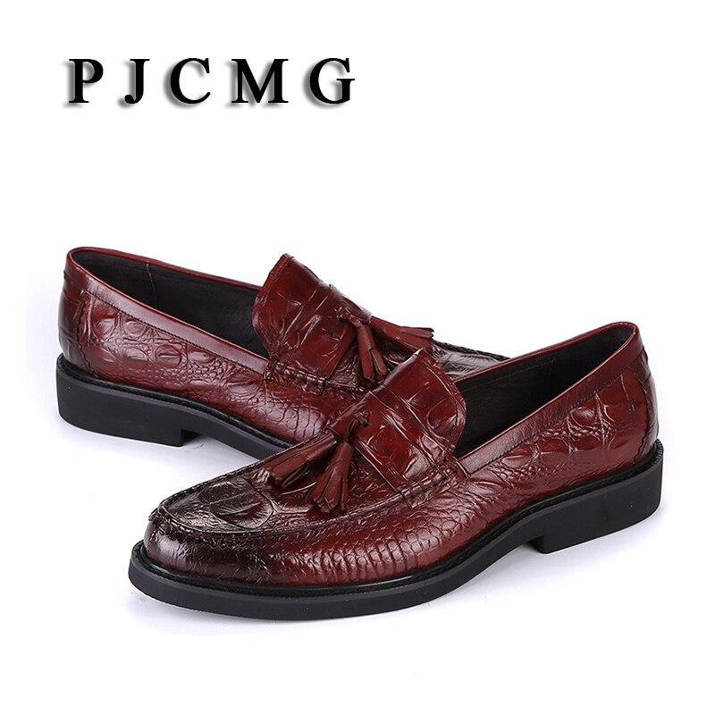 Dedo Formais Sapatos Black Wine red Crocodilo Homem outono Apontado Padrão Com De Couro Pjcmg Moda Slip Borla Genuíno Planas Vestido Primavera on vRqH0z