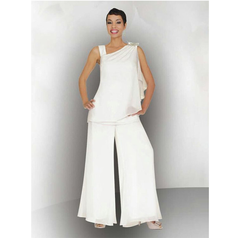 Elegant Women Mother Of The Bride Groom Pant Suit Ruched Crystal Plus Size White Chiffon Formal Wedding Guest Dress 2 Piece
