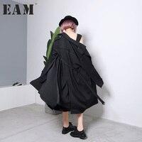 EAM 2018 New Spring Lapel Long Sleeve Solid Color Black Khaki Two Ways Wearing Windbreaker