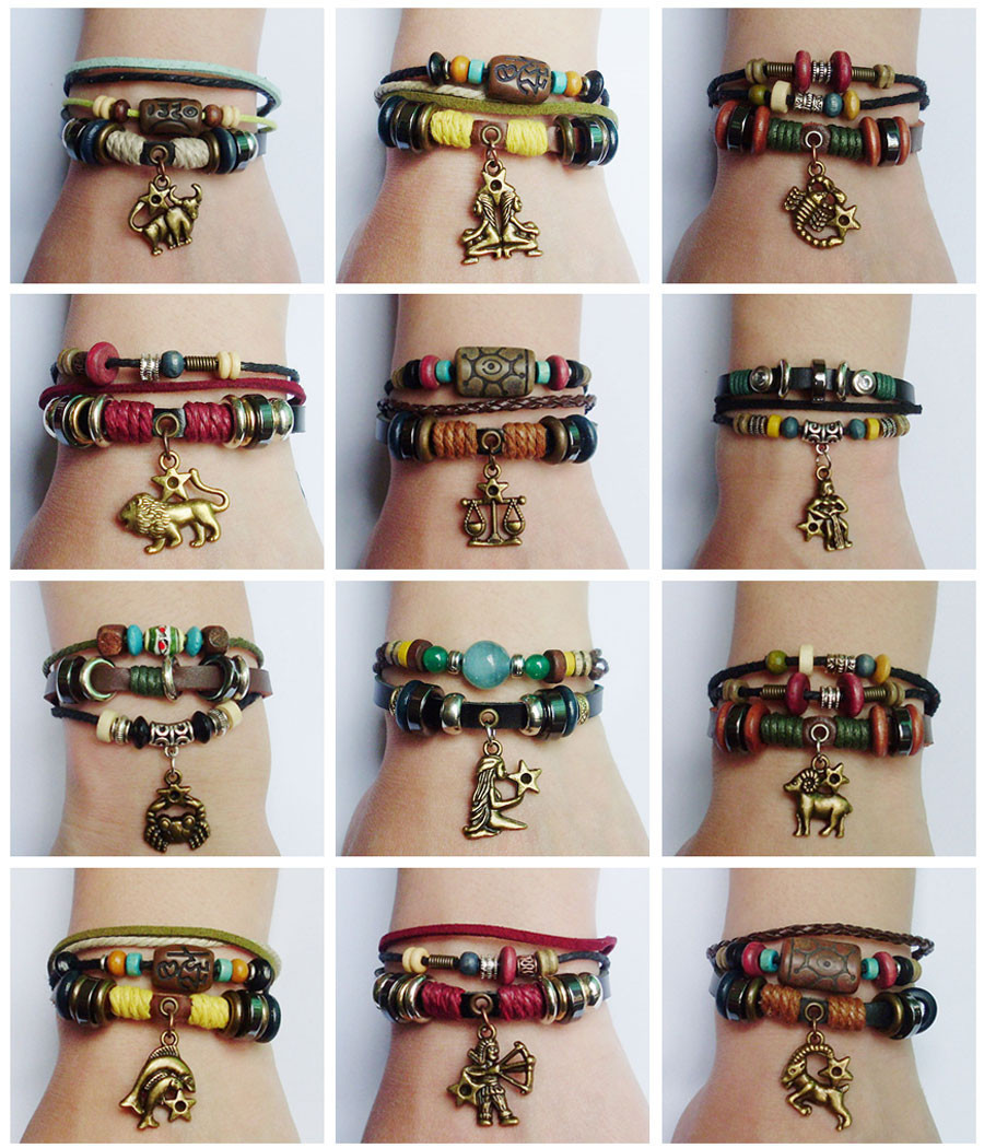 New 12 Zodiac Sign Charm Hemp Leather Bracelet  Aquarius Capricorn Pisces Scorpio Libra Gemini Sagittarius for Men Women Surfer 1