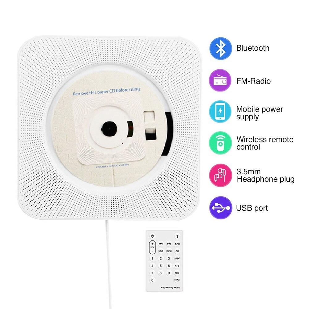 Lecteur CD mural Bluetooth Portable maison Audio Boombox avec télécommande Radio FM intégré HiFi lecteur cd mural