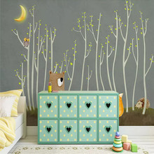 Customized 3d wallpaper Nordic hand-painted woods small animals children background wall high-grade waterproof material
