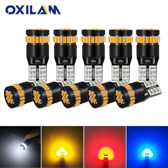OXILAM 10Pcs T10 LED Canbus W5W LED Bulb Auto Lamp 3014 24SMD Car Interior Light 194 168 Lights Bulb White Red Yellow No Error