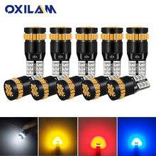Oxilam 10 pcs t10 led canbus w5w led 전구 자동 램프 3014 24smd 자동차 인테리어 조명 194 168 조명 전구 흰색 빨간색 노란색 오류 없음