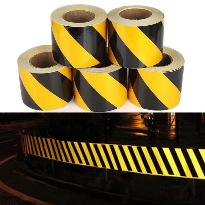 Купить с кэшбэком 10cm X 10m Self-Adhesive PET Reflective Sticker Warning Strip Decal corrosion resistance