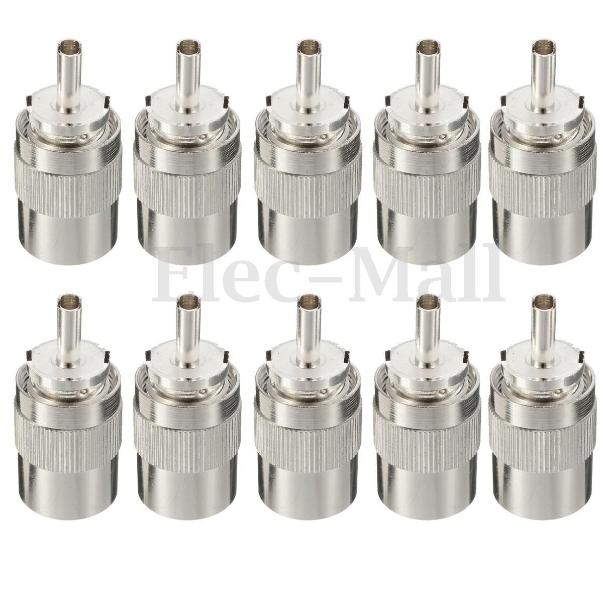 10pcs Connector UHF Male PL259 Plug Solder RG8 RG213 LMR400 7D-FB Cable Silver areyourshop 10pcs n clamp plug male rf coaxial connector cable for lmr400 rg8 rg213 converter mini