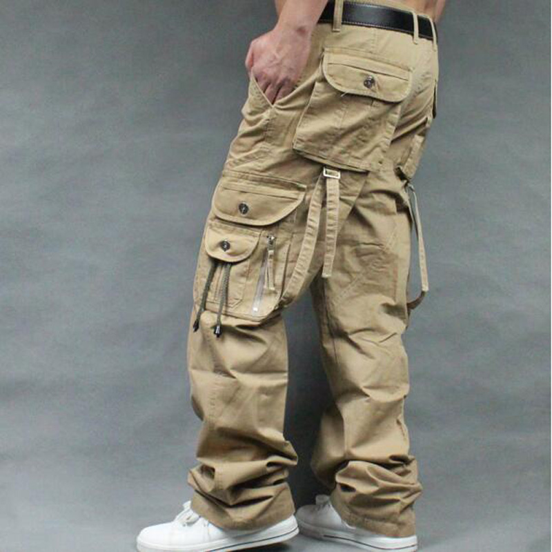 Men's  Cargo Pants Casual Mens Straight-leg Pants Pant Multi Pocket Overall Men Outdoors Trousers Plus Size