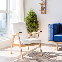 Solid wood sofa chair book single wooden handrail leisure sofa living room coffee shop Pu beanbag chair