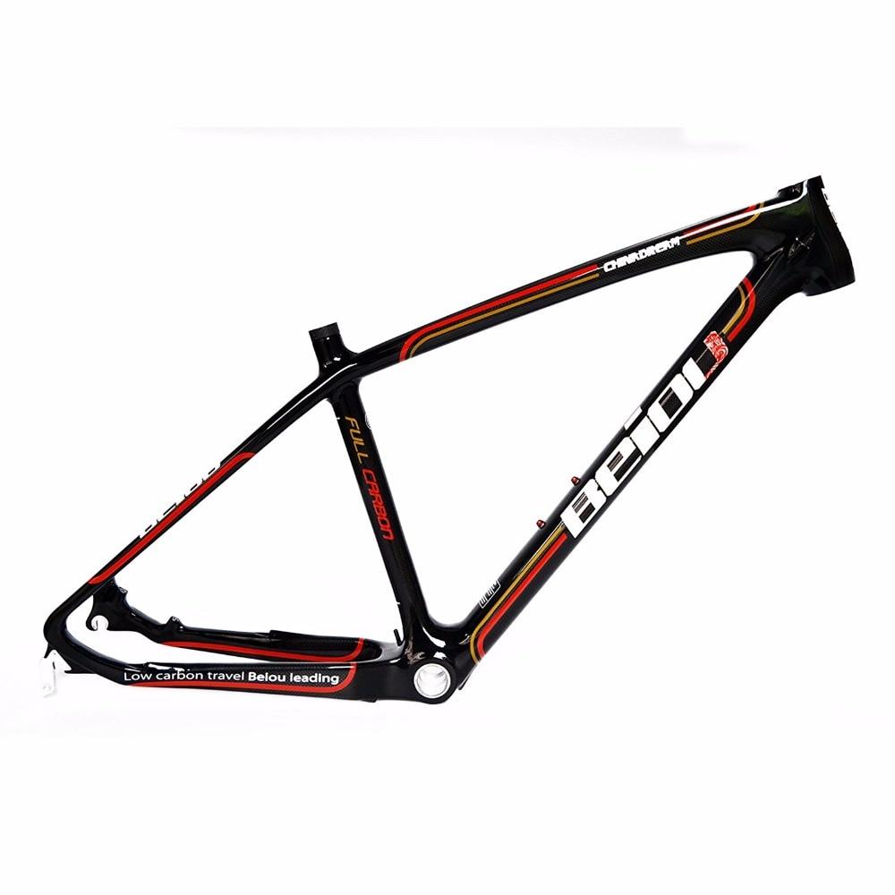 BEIOU 3k Carbon Fiber Mountain Bike Frame Ultralight 26 Inch Wheels MTB Glossy Black Unibody Internal Cable Routing FMB018A|bike frame|mountain bike frame|carbon fiber bike frame - title=