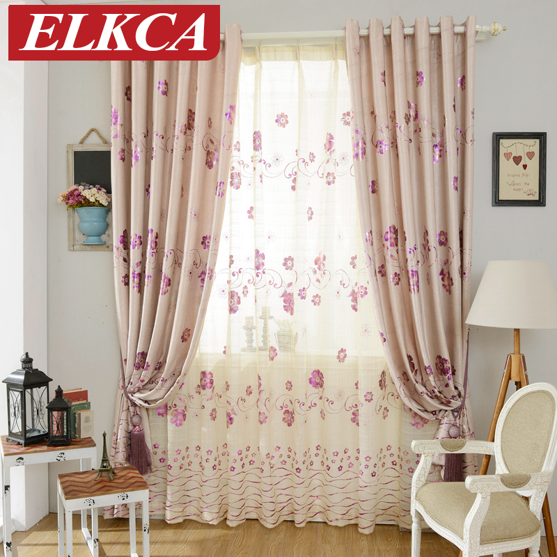 Purple Curtains For Bedroom Living Room Hot Sale Luxury Floral Purple Gilding Curtains For Living Room Bedroom