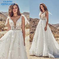 CLOUDS IMPRESSION Crystal 2019 Lace A Line Wedding Dress Appliques Chapel Train Vestige De Noiva Plus Size Bride Dress