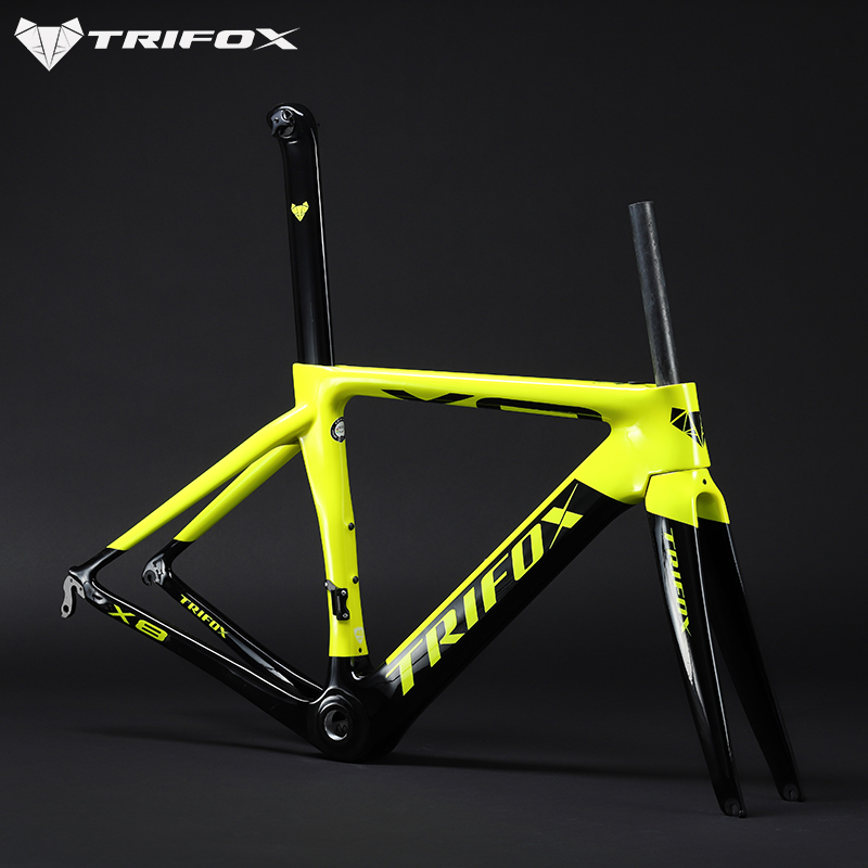98bc7a087b1 carbon road bike frame T1000 Glossy quadro carbono TRIFOX mtb frame BB68  Di2 Mechanical Frameset 29er 48 51 54 56 bicycle Frame