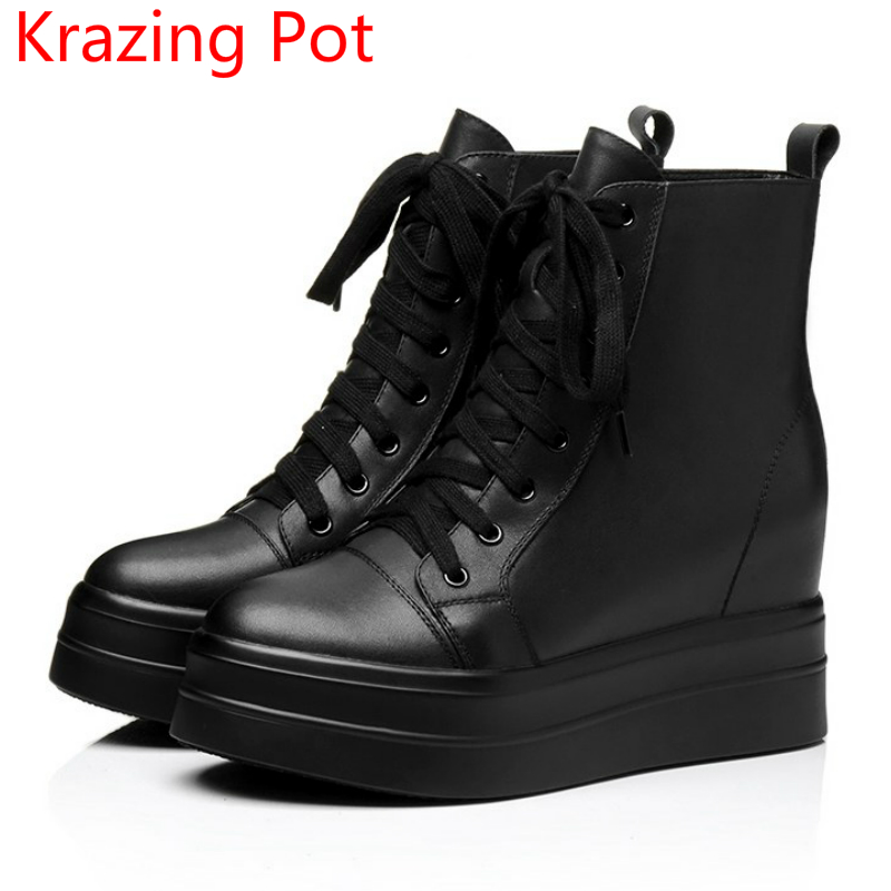 2018 New Arrival Cow Leather Round Toe Platform High Heels Lace Up Winter Boots Superstar Keep Warm Increased Ankle Boots L66 2017 superstar cow leather platform european ankle strap peep toe print mixed colors classic women increased runway sandals 0 4
