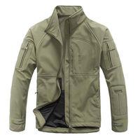 Winter Men's Camouflage Military Tactical Jacket Sharkskin Soft Shell Stand Collar Waterproof Windbreaker Outerwear Fleece Coats