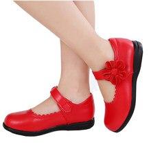 968b05813 Flores Meninas Crianças de Couro Genuíno vermelho Único Sapatos Para  Adolescentes Meninas Vestido Da Dança Da