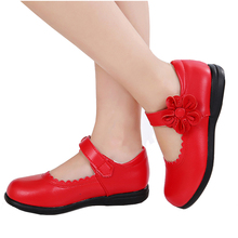 Red Girls Flowers Children Genuine Leather Single Shoes For