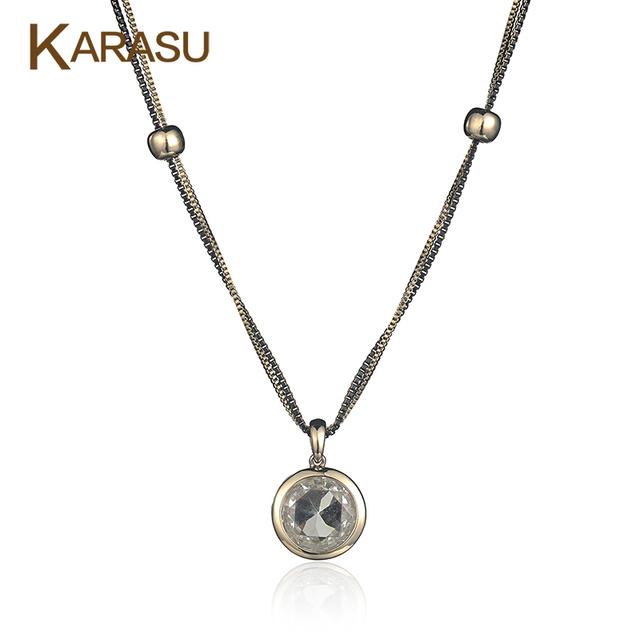 Fashion Double Layer Beads/Box Chain Real Gold Plated Round Glass Pendant Long Necklace for Women Jewelry