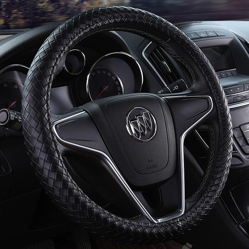 KKYSYELVA Black Car Steering Wheel Cover Leather Steering Covers Auto Steering-wheels Car Interior Accessories