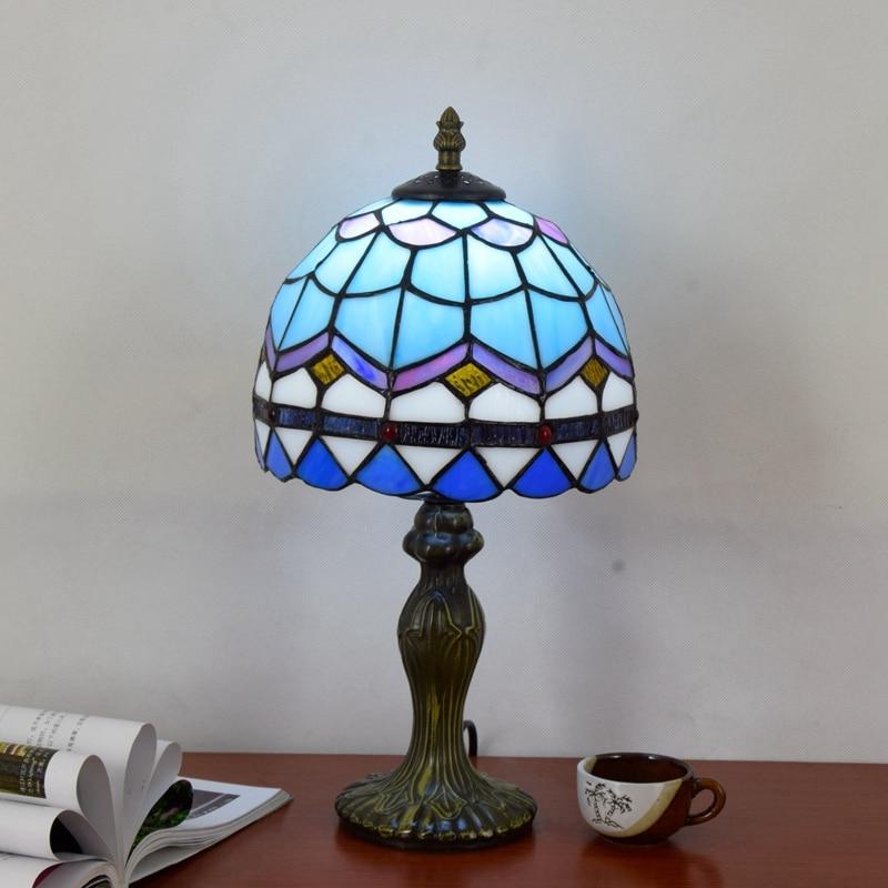 Originality Stained glass Blue Mediterranean desk lamp American Children room Hotel Bar Bedside LED lamp 110-240V Dia:20CM