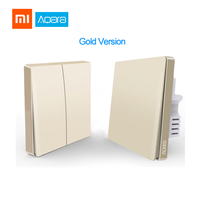Updated Gold Version Xiaomi Aqara Wall Switch Golden Smart ZigBee Zero Line Fire Wire Light Remote Control Wireless Switch