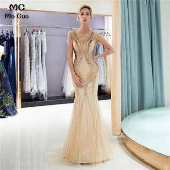 Illusion Prom Dresses with Beaded Crystals V-Neck Short Sleeve Tulle Sweep Train Evening Gown Prom Dresses Custom Made фото