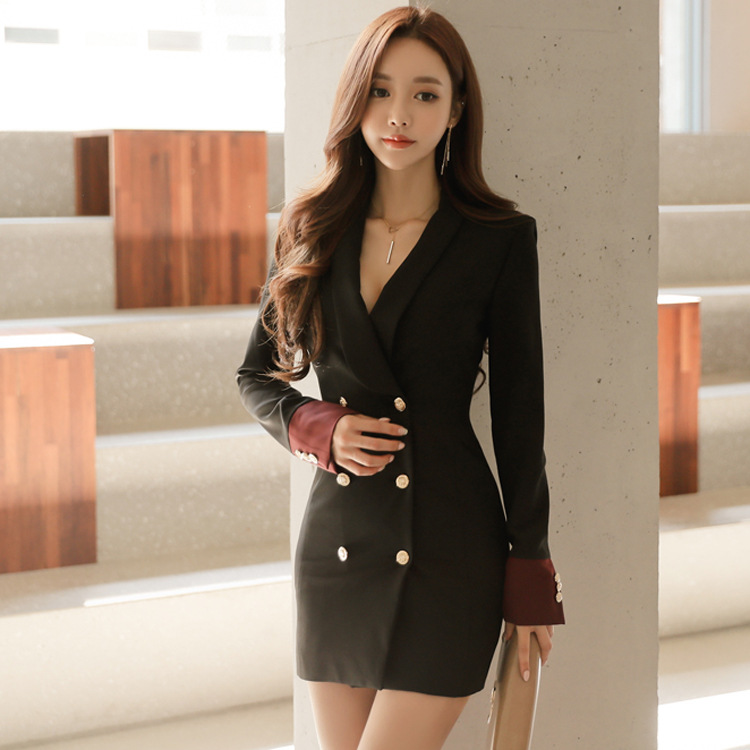 2019 Autumn Style New Korean Fashion Small Suit Temperament Double Breasted Color Slim Suit Coat Women Black Dress Sexy Gothic