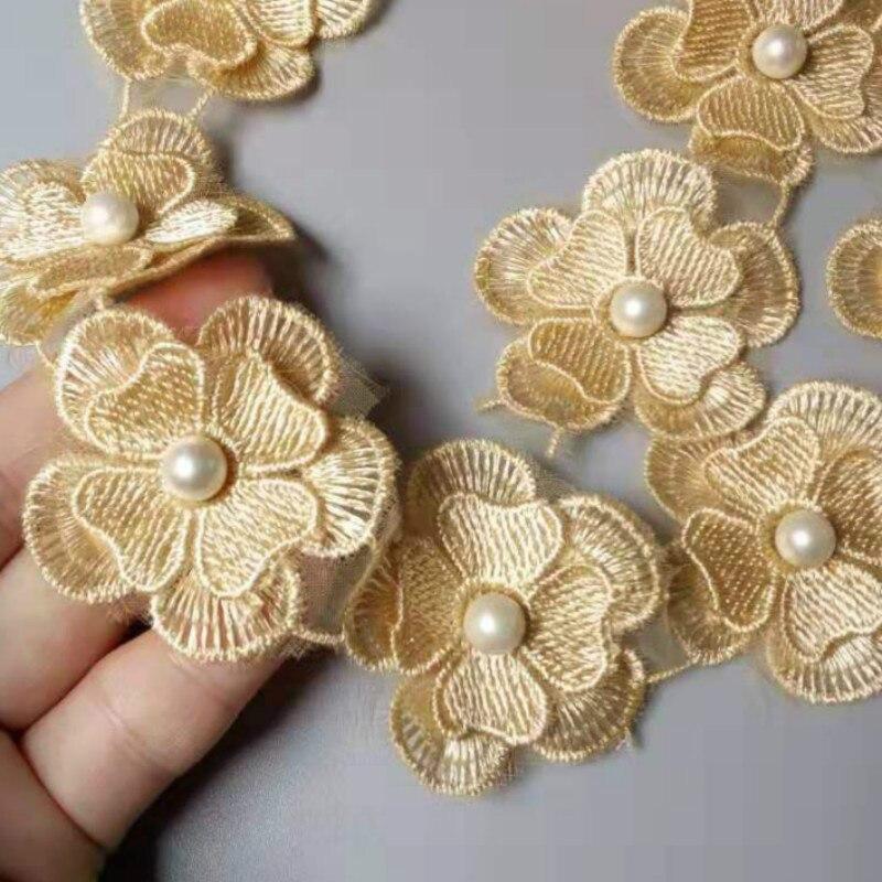10 PCS Gold Perle Blume DIY Löslich Hochzeit Spitze Spitze Trim Strick Bestickt Handarbeit Patchwork Band Sewing Handwerk 4,5 CM