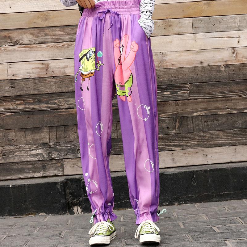Tide Brand 2019spring New Fashion Color Matching Vertical Stripes Wide Leg Pants Female Elastic Waist Closing Sports Pants Women