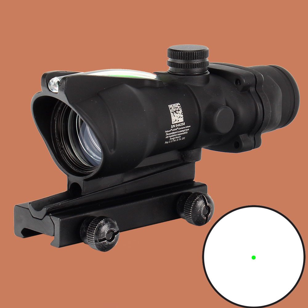 ohhunt Hunting Scope ACOG 1X32 Tactical Red Dot Sight Real Green Fiber Optic Riflescope with Picatinny Rail for M16 Rifle цены онлайн
