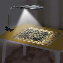 diamond painting tools New lighted magnifying glass clip on desktop LED desk lamp reading large lens magnifying glass with clip