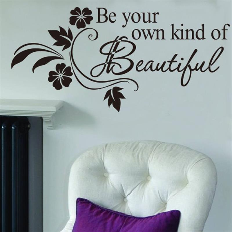 % Be your own kind of beautiful vinyl wall sticker quotes lettering words for kids girls bedroom bathroom home decor decal