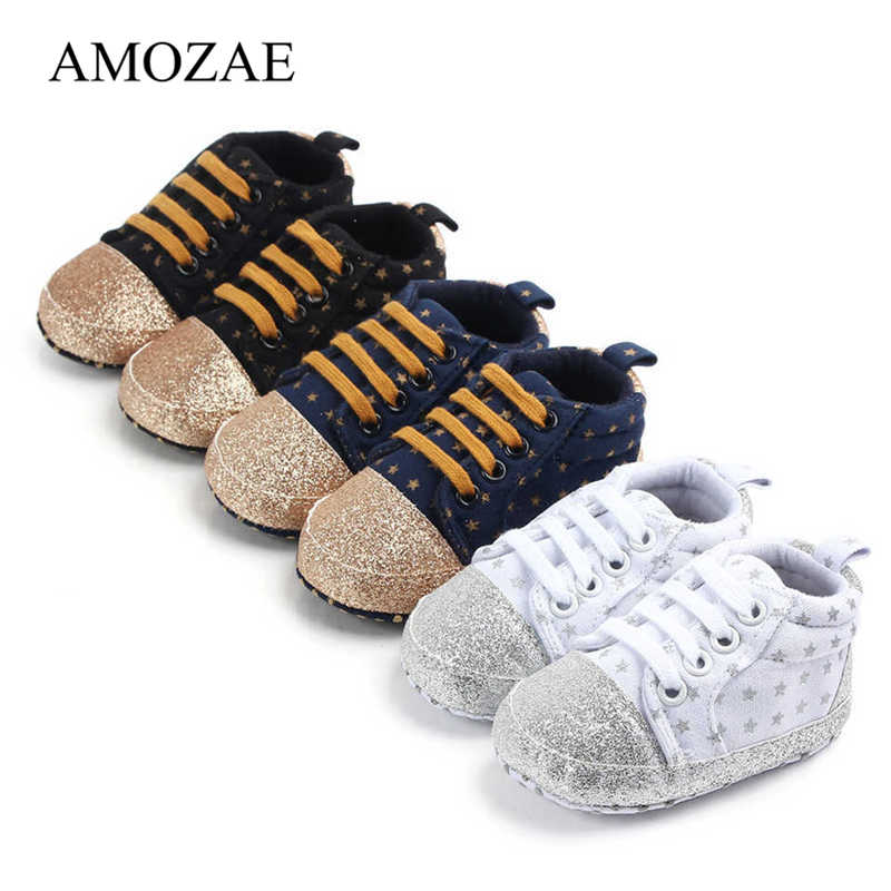 Newborn Baby Shoes For Boy Shining Star Sneakers Toddler Cotton Casual Anti-slip Shoes Infant Sequin Stars Kids Shoes 0-18M