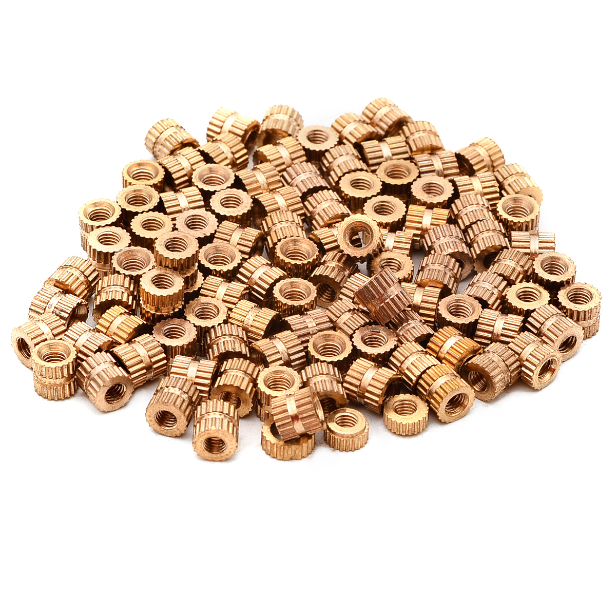100pcs Round Brass Knurl Insert Nuts <font><b>M3x5mm</b></font> 5mm(OD) Metric Threaded Gold Tone Nut Set image