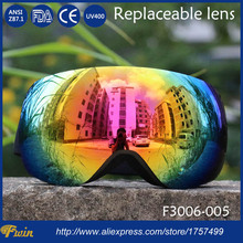 New Professional dual lens anti fog anti scratch UV-Protection interchangeable lens Snowboard Skiing Snow Goggle with free bag