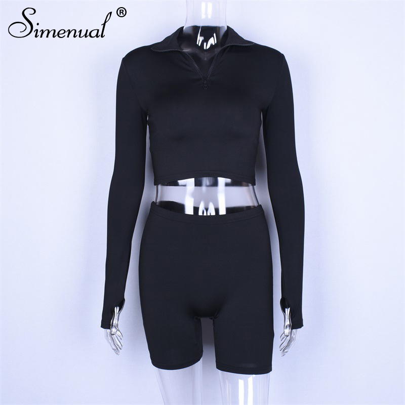 Simenual Push Up Cycling Shorts Tracksuit Set Women Zipper Fitness Long Sleeve Crop Top And Biker Shorts Two Piece Set Bodycon