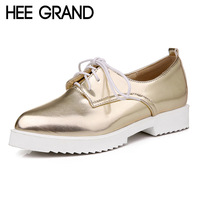 HEE GRAND Oxford Or Argent Talons Bas Chaussures Femme Style Britannique Creepers En Cuir Verni Pompes Casual Femmes Chaussures XWD4206