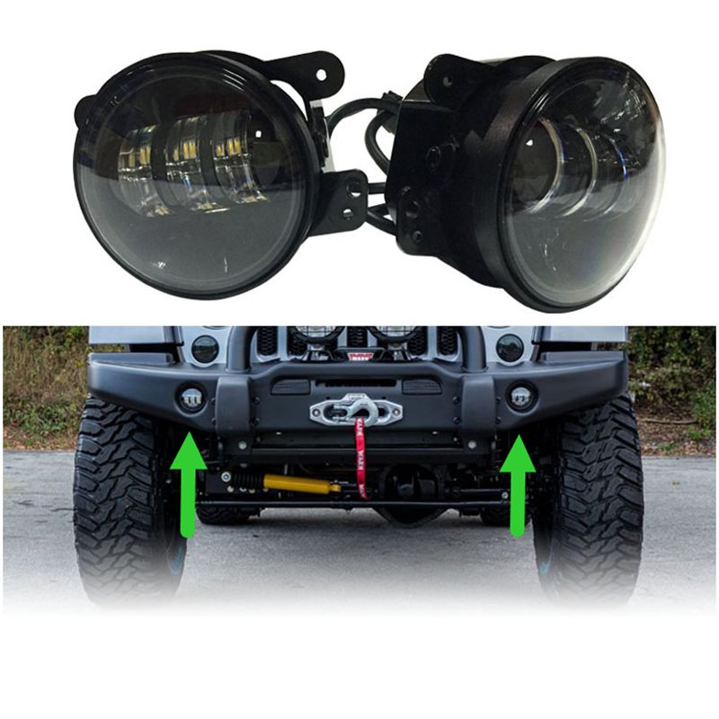 Car Styling	4 Inch Round Led Fog Light Headlight 30W Projector Halo DRL Offroad Lamp For Jeep Wrangler Jk Dodge Harley Daymaker 2pcs led round 4 inch fog lights 30w 4 fog lamp lens projector led driving headlamp for offroad jeep wrangler dodge chrysler