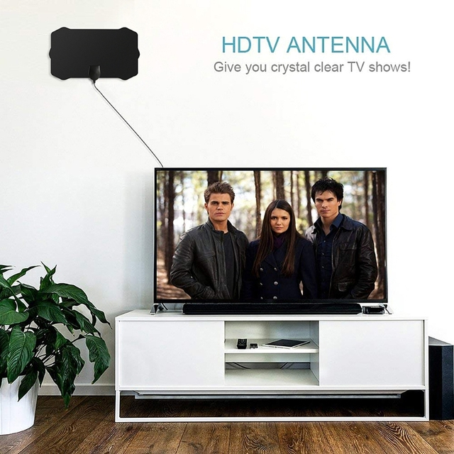 5V 25dB Indoor Digital TV Antenna HDTV 1080p HD 50 Miles Range VHF UHF Signal Amplifier Consumer electronics 2