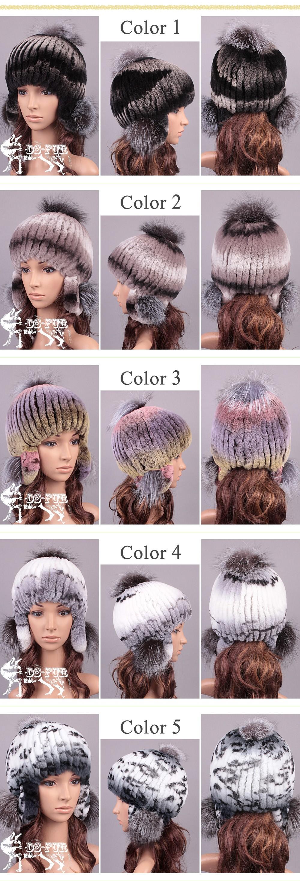 Rabbit hair braided silver fox fur earmuffs cap 01