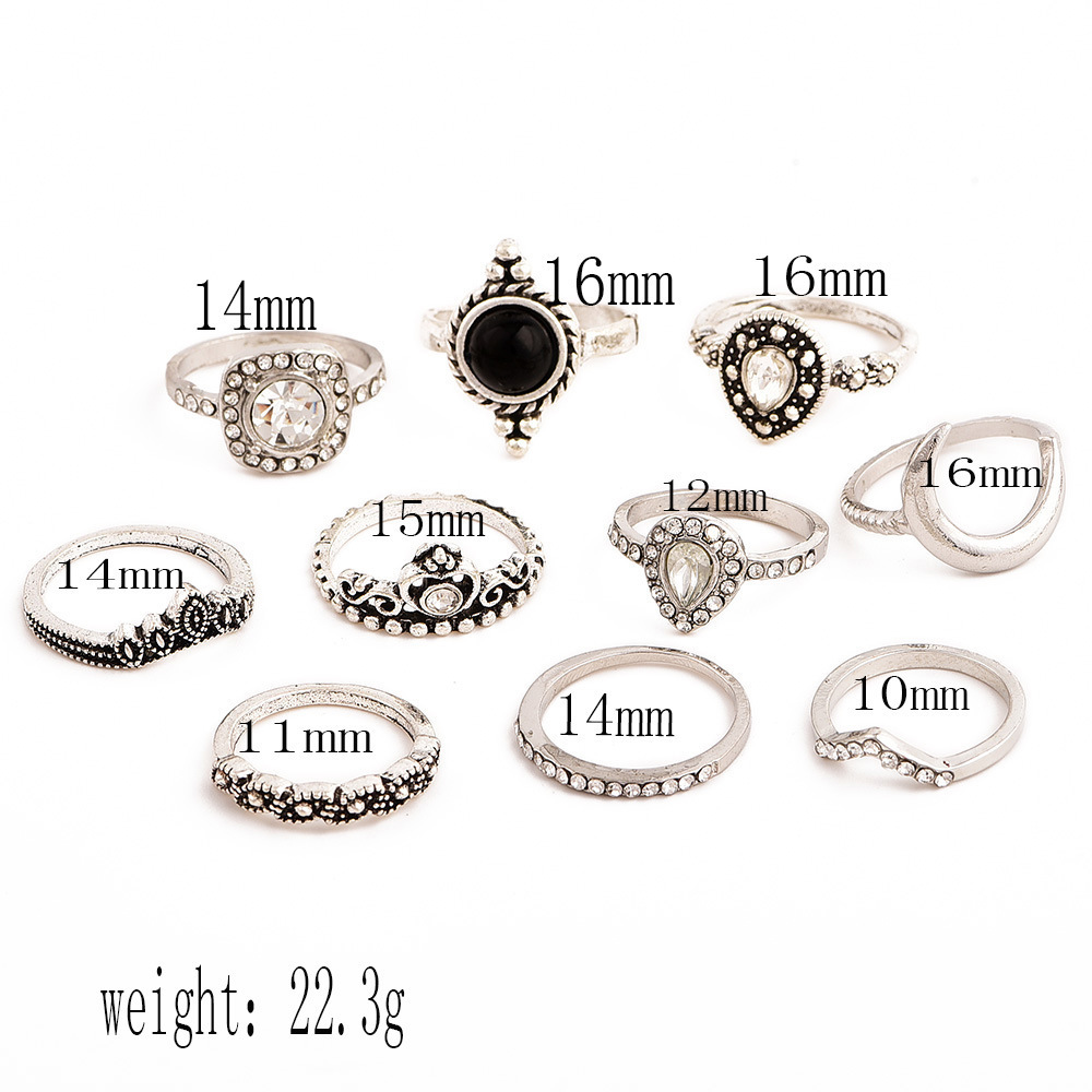 Bague Femme Vintage Rings for Women Boho Geometric Flower Crystal Knuckle Ring Set Bohemian Midi Finger Jewelry Silver Color 26
