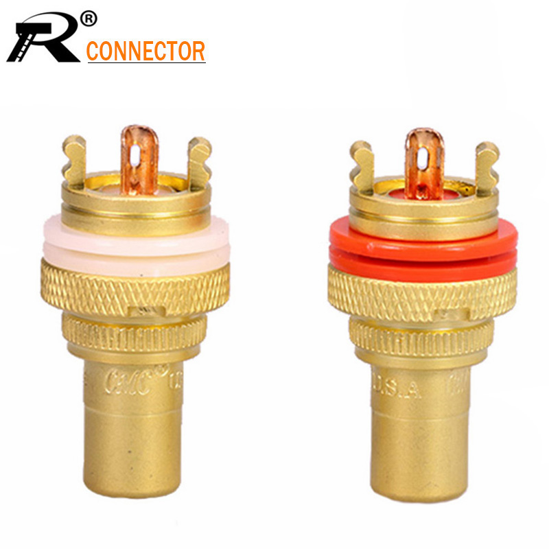 10pcs/lot RCA Female Jack Socket Gold Plated Amplifier Speaker RCA Soldering Chassis AV Terminal Phono Cable Wire Connector