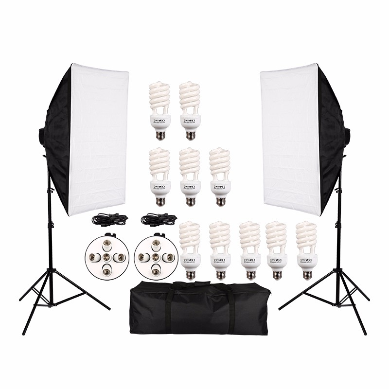 Good Quality Photo Studio Video Continuous Lighting Kit Photography Light Stand Two 50 * 70cm Softbox Ten Bulbs Two Light Holder