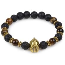 Owl Leopard Lion Head Buddha Beads Bracelet Charm Elastic Evil Eye Natural Stone Bracelet Hamsa Hand Lava Bracelet Men Helmet