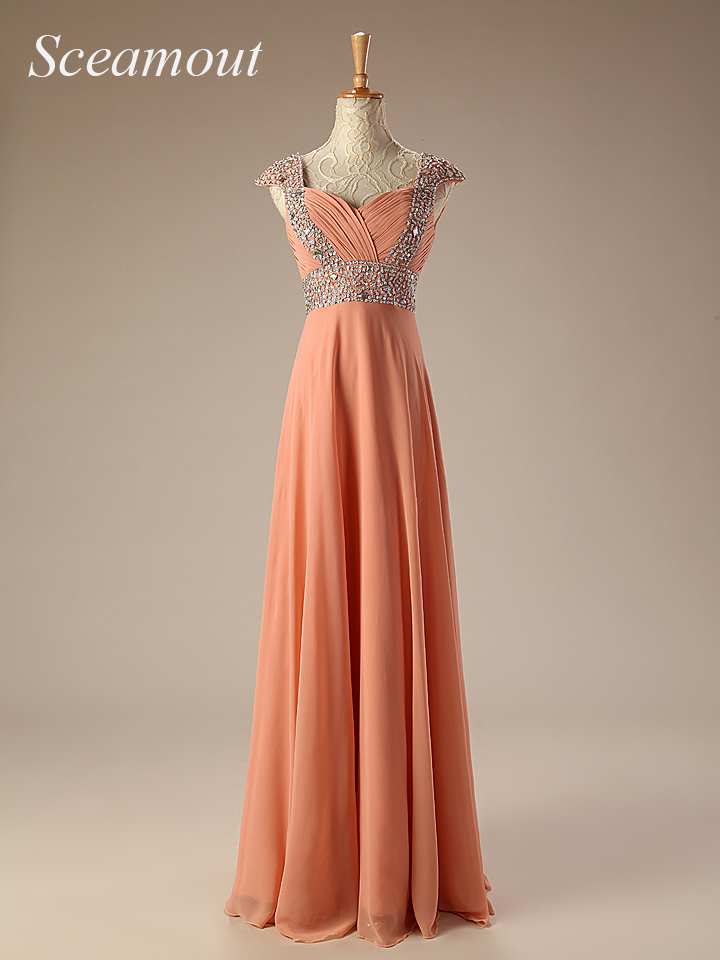 Long Formal Crystals Chiffon Modest Formal Evening Dresses With Short Sleeves Sparkly Girls Party Dresses Robe de soiree