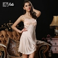New summer Sexy 100% silk women night dress spaghetti strap sleepdress for women sexy homewear lingerie nuisette women