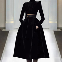 2801ef9a19 New Spring Fall 2019 Women Party Ball Gown Dresses Turtleneck Luxury Design  Plus Size Black Red
