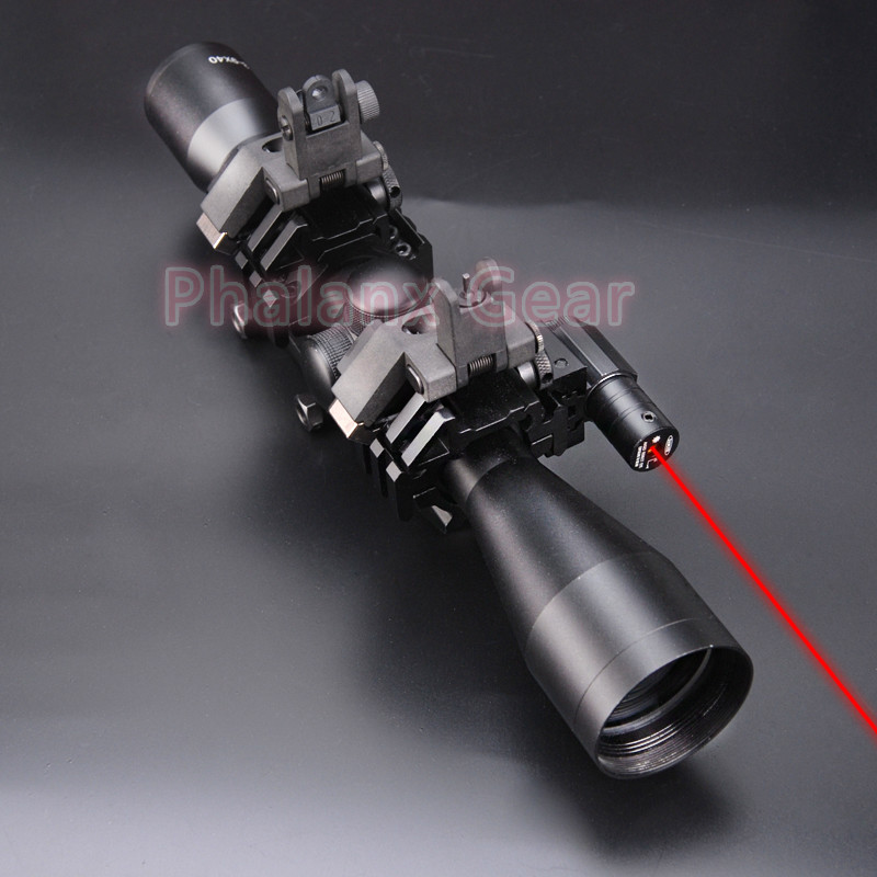 5 in 1 NEW 3-9x40 Hunting Scope Optics +QD 3 Side Rail Mounts for Rifle Airsoft + tactical powerful lase +AR-15 Front Rear Sight image