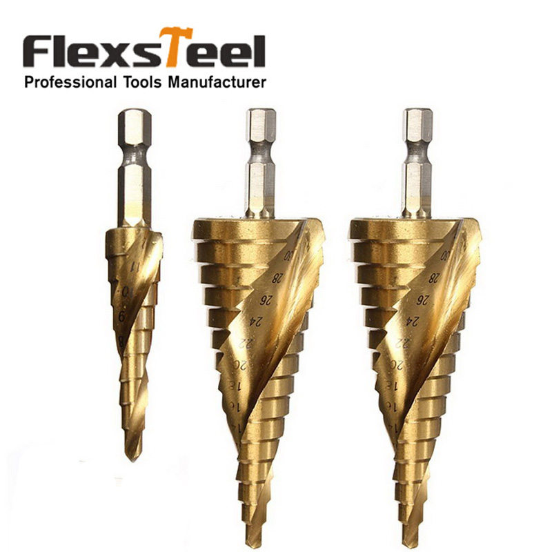 3pcs/set Titanium Coated HSS Spiral Grooved Core Drill Step Drill Bit Set 4mm to 12mm/20mm/32mm Cut Tool Set g 3pcs set quick change hex shank larger titanium coated m2 tool step drill bit set 71960 t
